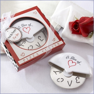 A Slice of Love Stainless Pizza Cutter in Miniature Pizza Box Favors