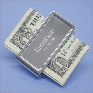 Aaron Engraved Chrome Money Clip
