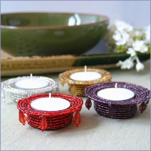 Beaded Tea Light Holder Favors
