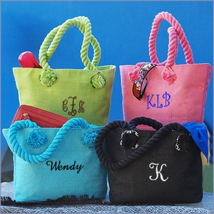 Bethany Monogram Jute Purse