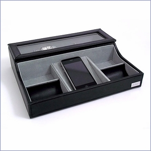 Black Leather Valet Box