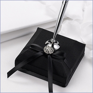 Black Satin Wedding Pen Set