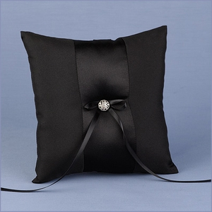 Black Satin Wedding Ring Bearer Pillow