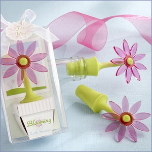 Blooming Flower Bottle Stopper Favor in Whimsical Window Gift Box