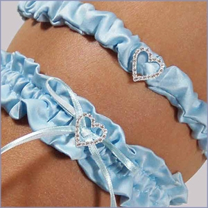 Blue Crush Wedding Garter With Tossing Garter