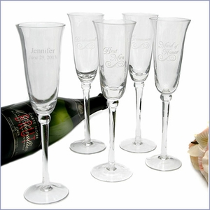 Bridal Party Etched Flutes