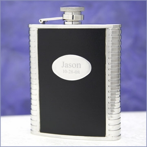 Brody Black Leather Hip Flask