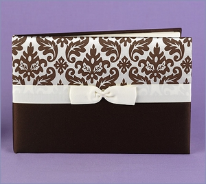 Brown Damask Wedding Guest Book