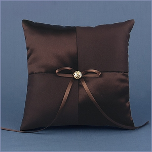 Brown Satin Wedding Ring Bearer Pillow