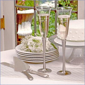 Brushed Rhinestone Flutes & Serving Set