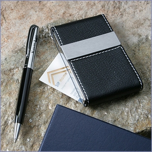 Business Card Case and Engraved Pen Gift Set