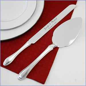 Cake Knife & Server Set with Crystals