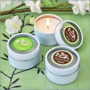 Cherry Blossom Personalized Travel Candle Tins Wedding Favors
