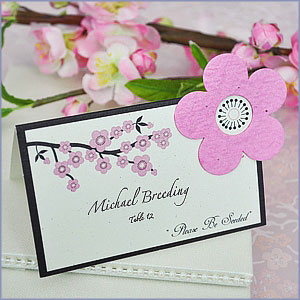 Cherry Blossom Plantable Seed Wedding Place Cards (set of 12)