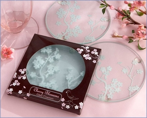 Cherry Blossoms Frosted Glass Coasters Wedding Favors