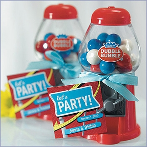 Classic Gumball Machine Wedding Favors in Traditional Red
