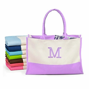 Color Block Canvas Tote Bag