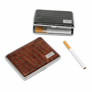 Croc Leather Covered Cigarette Case