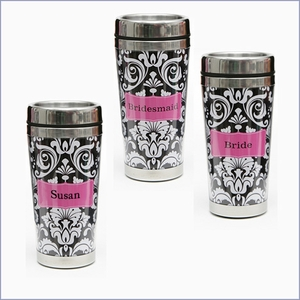Damask Personalized Travel Mug