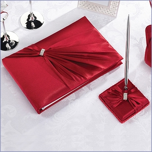 Diamond Red Rhinestone Guestbook and Pen Set