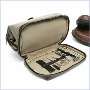 Dopp Leather Case with 6 Pc. Manicure set