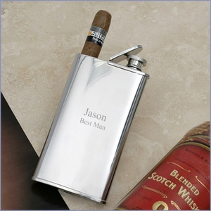 Double Cigar Holder with Stainless Steel Flask