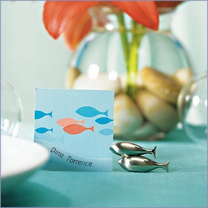 Double Fish Placecard Holder with Silver Finish (Set of 8)