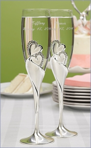 Double Heart Toasting Flutes