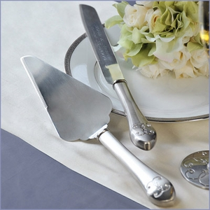 Elegant Silver Parisian Cake and Knife Server Set