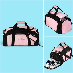 Embroidered Pink Gym Bag