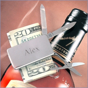 Engravable Silver Pocket Knife Money Clip