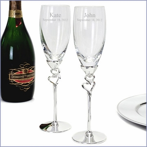 Engraved Entwined Hearts Wedding Flutes