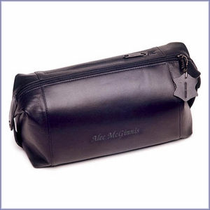 Engraved Leather Dopp Bag