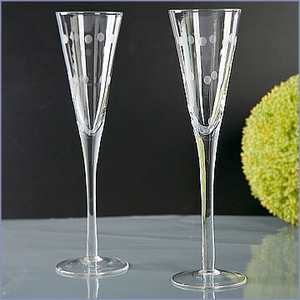 Etched Wedding Toasting Flutes Set