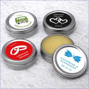 Exclusive Design Lip Balm Tin Favors - Pack of 12