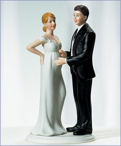 Expecting Bridal Couple Wedding Cake Topper