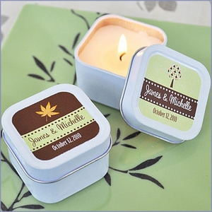 Fall for Love Personalized Candle Tins Wedding Favors