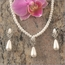 Faux Pearl Teardrop Necklace Set