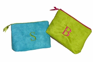 Faux Suede Personalized Cosmetic Bag
