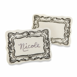 Filigree Ceramic Place Card Holder - Set of 6