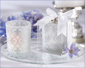 Fleur-de-lis Frosted Glass Wedding Tea Light Holder (Set of 4)