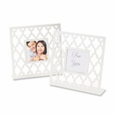 Geometric Lattice White Photo Frame