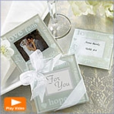 Good Wishes Pearlized Photo Coasters Glass Wedding Favors