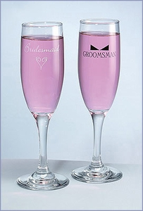 Heart & Bow Tie Flutes Bridesmaid/Groomsman