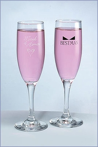 Heart & Bow Tie Flutes Maid of honor / Bestman