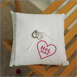 "Heart Personalized Ring Pillow 8"" Square"