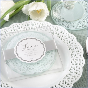 Lace Exquisite Frosted-Glass Coasters