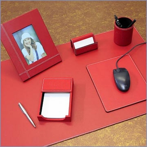 Ladies Deluxe Red Leather Executive Desk Set