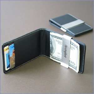 Leather Money Clip Credit Card Holder