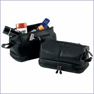 Leather Toiletry Bag with Zippered Bottom Compartment